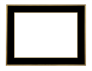 Picture frame in gold leaf with beveled center, isolated