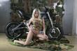 camouflage biker babe