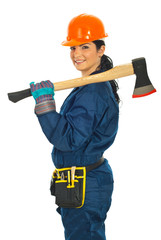 Worker woman holding axe