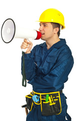 Workman shouting in megaphone
