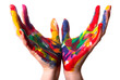 zwei bunte Hände bilden einen Kelch