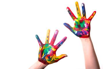 zwei bunte Hände mit Textfreiraum