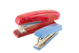 Blue and red staplers