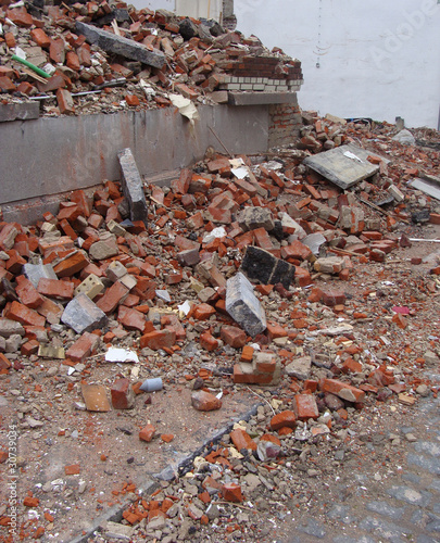 large stack of rubble from a demolished house on a construction