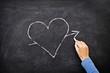 Love heart drawing on blackboard