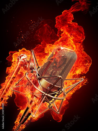 microphone is on fire