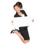 Sign business woman jumping excited