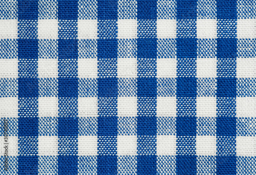 blue and white check cotton tablecloth fabric - 30740887