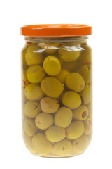 A jar of stuffed green olives isolated
