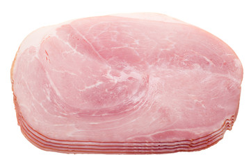 slices of ham isolated