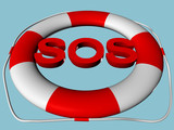SOS text in rescue circle
