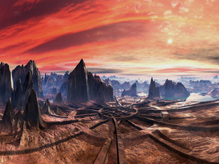 Ruins of Alien Landing Site at Sunset