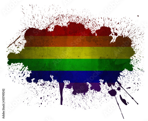 Gay rainbow flag paint splatter