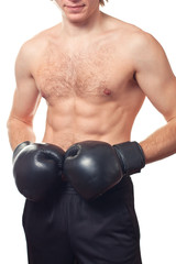 Man boxer with black boxing gloves.