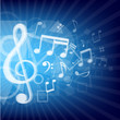 modern music notes blue background