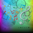 modern music notes color background
