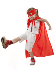 Girl Superhero a white background