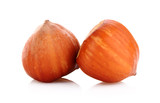 Two Hazelnuts Isolated on White Background