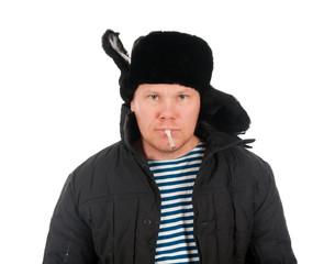 Russian man in winter fur cap  ,red-neck.