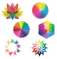 Ensemble d'Icones Roue Couleurs / Lotus / Mandala Arc-en-Ciel