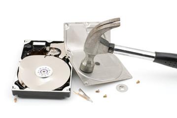 破壊したハードディスク