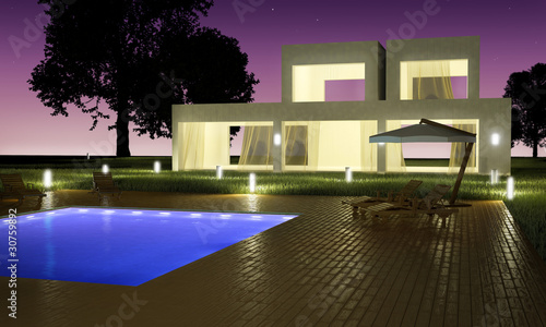 Modern house with pool night view