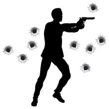 Héros d'action dans le pistolet lutte silhouette
