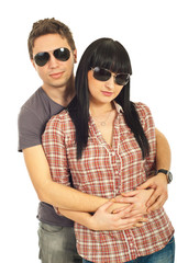Young fashion couple with sunglasses