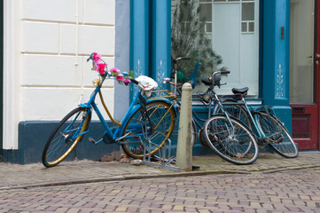 bicycles parked in the street