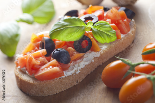 Bruschetta Appetizer Close Up. Shallow depth of field.