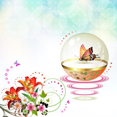 Springtime background with butterflies and flowers