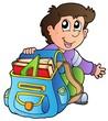 Cartoon boy with school bag