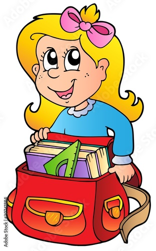Cartoon girl with school bag