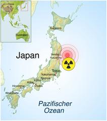 Landkarte von Japan-Erdbeben.Tsunami.Super-Gau