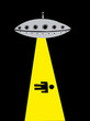Alien flying saucer abducting a man
