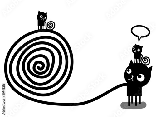 three black cats with tails of spirals © Complot