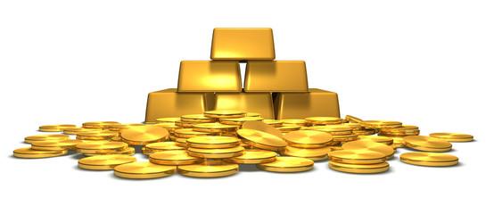 Goldbarren und Goldmünzen - Motiv 1 - frontal
