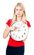 Cute blonde girl with the clock