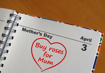 """Mother's Day calendar with reminder """"Buy roses for Mum"""""""