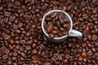 Overhead shot of cup and coffee beans