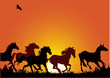 horse herd at red sunset illustration