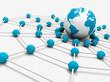 concepto de trabajo en red con mapa del mundo