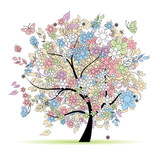 Fototapety Floral tree in pastel colors for your design, spring