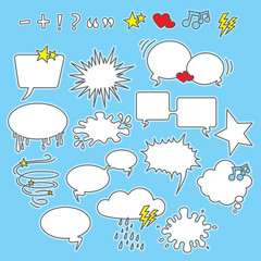 Speech bubbles, shapes and icons
