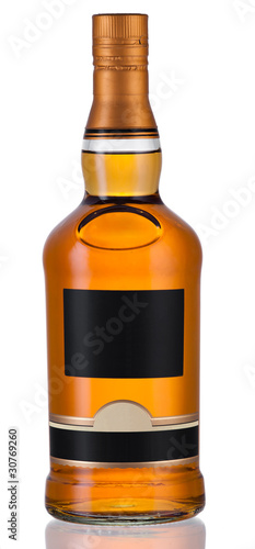 Full whiskey bottle isolated on white background