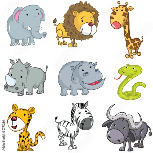 Foto op Aluminium Zoo Set of cute cartoon animals