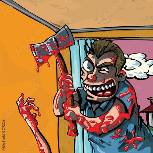 A cartoon of a axe murderer