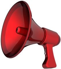 Megaphone hot news announcement alarm colored red