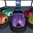 multiple colorful bumper cars from the amusement park. 3D