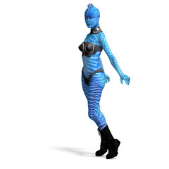 blue attractive female fantasy alien. 3D rendering with